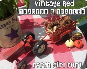 Farm Girl Fun! Vintage Red Tractor and Farm Trailer - Farmhouse Style Decor