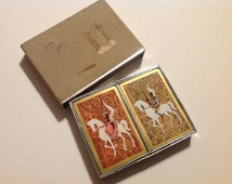 Two Decks of Vintage Medieval Lady and Knight on Horses Playing Cards