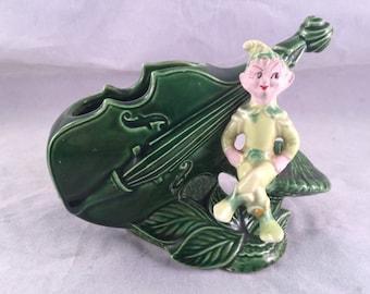 Vintage Green Pixie Elf and Cello Planter