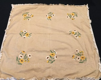 Vintage Khaki Luncheon Cloth/Tablecloth with Embroidery Daisy/Daisies and White Eyelet Trim