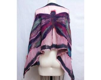 Nuno Felted Dragonfly Shawl on Silk Art To Wear