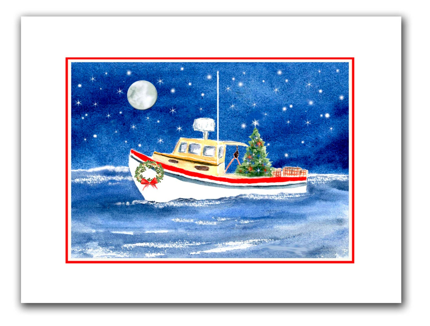 Lobster boat Christmas cards. set of 10.holiday card set.