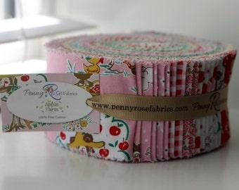 SALE 2.5 inch strips APPLE FARM Jelly Roll fabric by Riley Blake Elea Lutz 40 strips