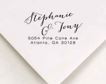 Custom Address Stamp, Self Inking Address Stamp, Bridesmaid Gift, Wedding Stamp, Return Address Stamp, Gift For Newlywed, Stephanie and Tony