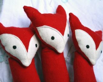 Handmade Plush Fox Baby Rattle