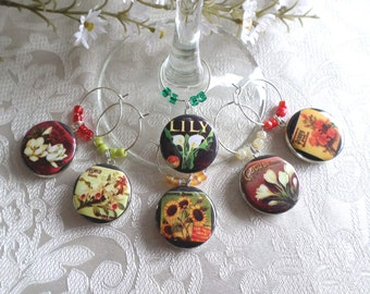 Retro Flowers Wine & Drink Glass Charms - Set of 6