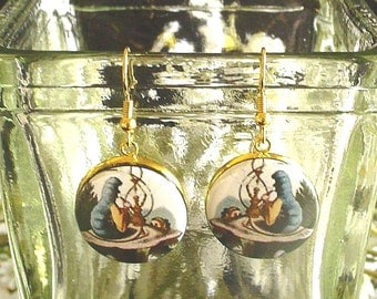 Hookah Smoking Caterpillar from Alice's Adventures in Wonderland Altered Art Earrings