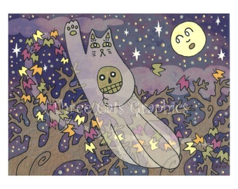 The Luck of Eternity on a Blustery Autumn Night - Choose from ACEO Print, Note Cards, or Art Print