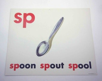 Vintage 1960s Childrens Giant Sized School Flash Card with Picture and Word for Spoon