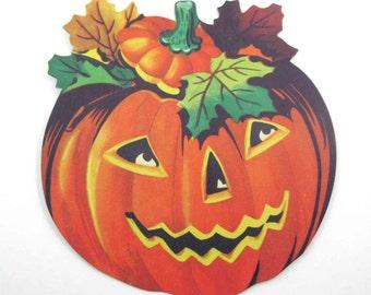 Vintage Miniature Dennison Halloween Die Cut Decoration with Jack o Lantern NOS