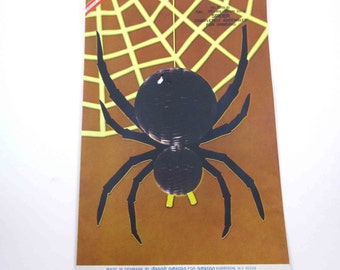 Vintage Honeycomb Black Spider Halloween Decoration in Original Package by Danish Amscan