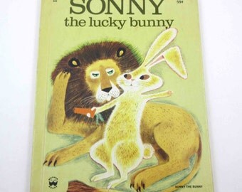 Sonny The Lucky Bunny Vintage 1970s Children's Wonder Book by Marcia Martin Illustrated by Art Seiden Yellow Cover