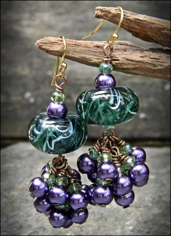 Green & Purple Wirewrapped Drop Earrings