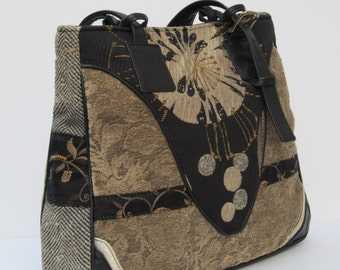 LARGE TOTE BAG One of a Kind Fabric Collage