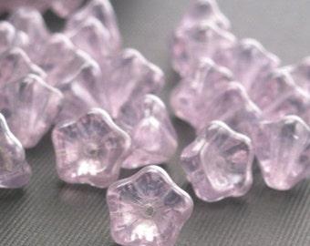 50% Off Sale 25 Czech Glass Bell Flower Beads - 8x6mm Luster - Alexandrite CZP079