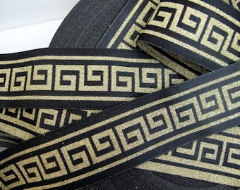 3 yards  GREEK KEY wide Jacquard trim in gold on black. Reversible. 2 inch wide. 876(4)-A