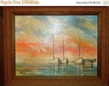 "Valentines Day Sale Signed Oil Painting Beach, Nautical Sea Life, Sailboats, Signed ""Greene"" Seashore original artwork , Afternoon Sunset, B"