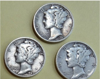 Sale Silver Dime Coins, Mercury Dimes x 3, dated 1945 WWII 90% Silve precious metal Antique Coin for Jeweler Artist Numismatic jewelry uniqu