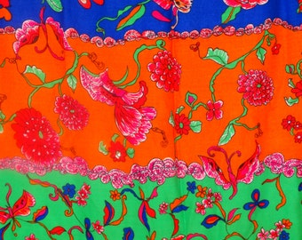 Fabric Funky Rose 1970's stylish Floral Fabric Original Screen Design, by Lowenstein & Sons, Bohemian Fabric, HIppie/Love Child/Woodstock