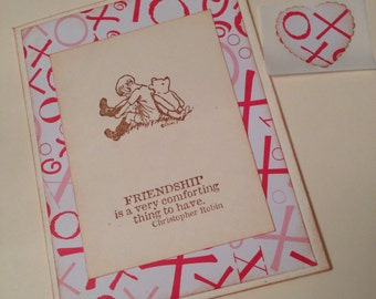 Winnie The Pooh Stamped Greeting Card - Friendship Valentine