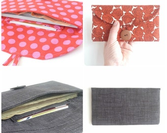 e envelope wallet checkbook cover. fabric womens coupon holder case. cute gift idea. cloth material fabric