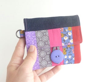 purple pink woman wallet fabric card organizer. periwinkle grey patchwork ladies slim little small vegan cute wristlet for her