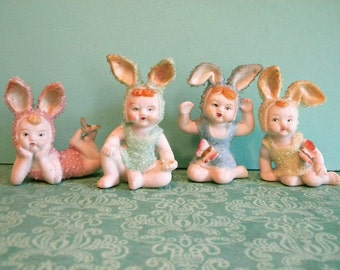 Vintage Set of 4 Bunny Baby Children with Butterflies Paulux Japan Bisque Easter Rabbits