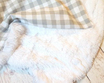 Grey Buffalo Check CUDDLE Baby Blanket-Small on the Go-baby gift,gender neutral