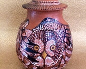 Dreamtime Owl Cremation Memorial Urn of New Mexico Mica Clay