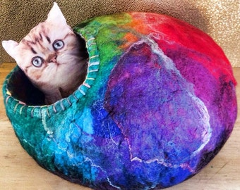 Custom Felt Cat Cave Cocoon Bed with Animal Rescue Donation