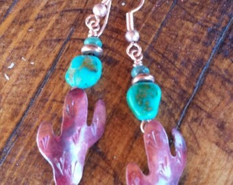 COPPER Saguaro Cactus Earrings  - Turquoise Earrings - Southwestern - Desert - Rustic Jewelry - Cowgirl Jewelry