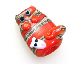 Handmade Lampwork Glass Bead Focal - Beatrice! Kitty cat focal, silvered ivory stripes on coral orange, white pet mouse, bue eyes.