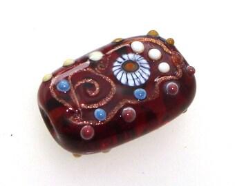 Handmade Lampwork Glass Focal Bead. Whiskey River! Goldstone spirals, starburst murrini, small raised dots, Indian Summer amber gold topaz.