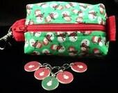 Snowmen mini box bag and stitchmarker set for KNITTERS