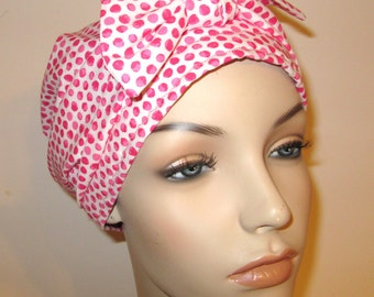 Blurred Pink Polka Dots  Chemo Hat, Cancer Scarf, Surgical Scrub Hat, Turban, Hair Loss Free Ship USA