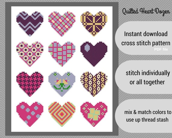Quilted Hearts Dozen Cross Stitch Pattern Set