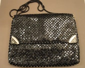 Vintage Purse, Black metal mesh soft side bag, Front flap, Magnetic clasp, Made in Korea, 37 inch chain handle, 2 inside pockets