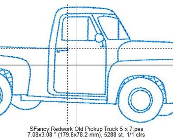 SFancy Redwork Old Pickup Truck 5 x 7