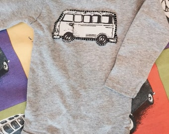 Long Sleeve Grey VW Volkswagen bus baby onesie size 3 to 6 months