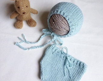 Ready to ship . Newborn bonnet and pant set , hand knitted.