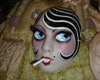 Smoking Flapper Mask Vintage Style Striped Bob