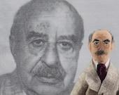Fritz Perls-  Psychotherapy Art-  Psychiatrist Doll- Human Behavior- Geek Science - Miniature Art