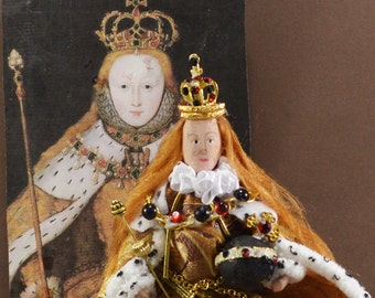 Queen Elizabeth l on Coronation Day  Royal Throne Miniature Diorama Scene Tudor Historical Doll Miniature Art Collectible