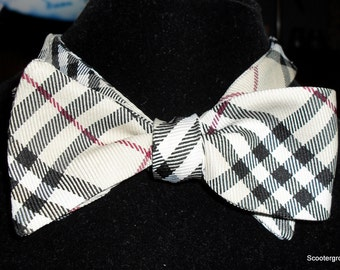 Handcrafted Self Tie Bowtie -Perfect for Winter Tan Plaid- Adjustable 15 to 19 inches