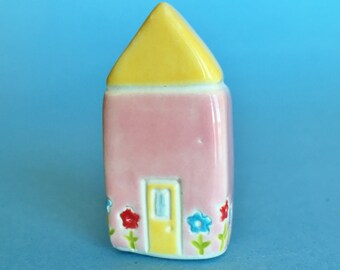 Little Cottage House Collectible Ceramic Miniature Clay House pink yellow