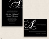 CALLIGRAPHY MONOGRAM - DIY Printable Wedding Set - Invitation and Reply Card - Cursive Letter - Black and White - Classic