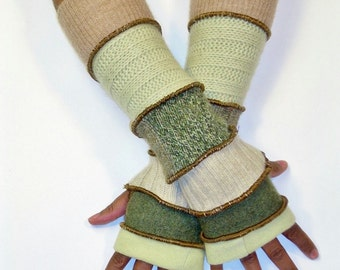 Fingerless Gloves, Arm Warmers, Green (Pale Lime/Dusty Olive/Beige/Patched Sage, Olive Tweed/Pale Pistachio/Medium Beige)