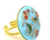 ON SALE Bird Ring, Birds and Flowers Ring, Flower Ring, Aqua Ring, Vintage Glass Ring, Gold and Aqua Ring