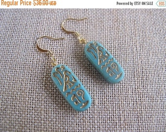 ON SALE Aqua Egyptian Earrings, Aqua and Gold Earrings, Egyptian Earrings
