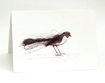 Willie Wagtail, Greeting Card, Bird Art Card, Bridget Farmer, Bird Art